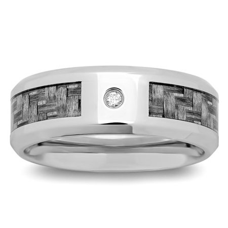 Men's Stainless Steel with Diamond Accent Gray Carbon Fiber Band, 8mm