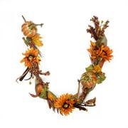 5' Gourd and Orange Sunflower Harvest Gathering Artificial Thanksgiving Garland - Unlit