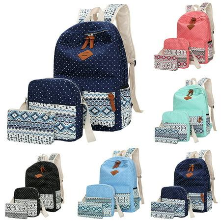 Top Knobs Canvas School Backpack Casual Laptop Bag Shoulder Bag for Teen Girls Boys