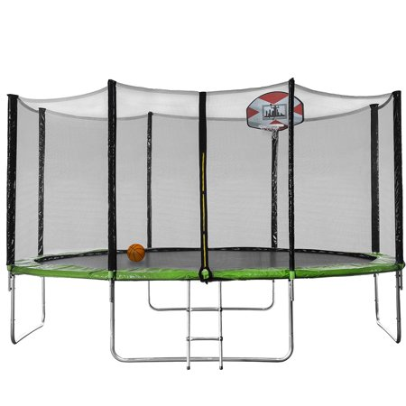 Indoor Trampoline for Kids 3-10, New Upgraded 14ft Outdoor Trampoline with Safety Enclosure Net, Basketball Hoop and Ladder, Heavy-Duty Round Trampoline for Indoor or Outdoor Backyard, BV Certificated