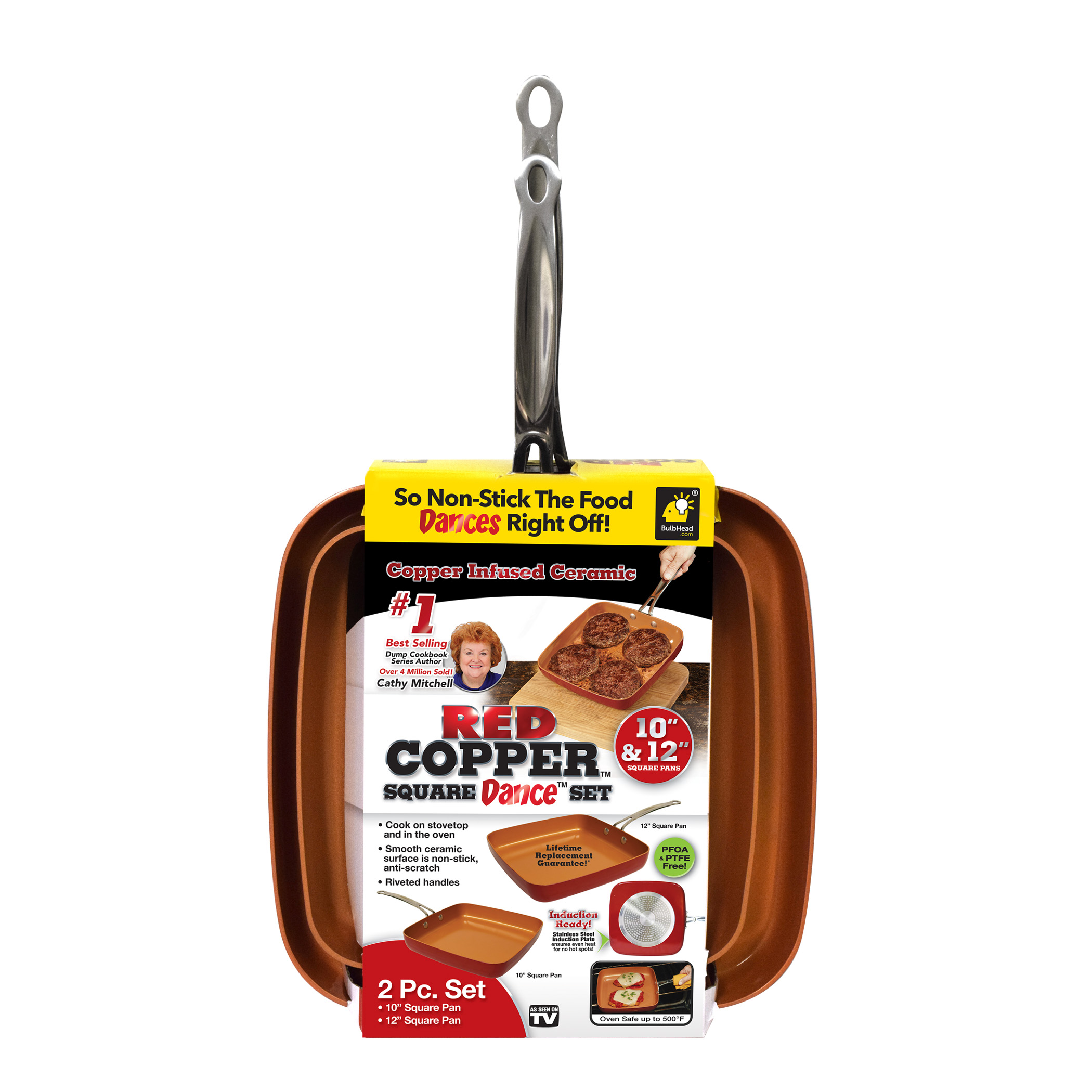 As Seen On Tv Red Copper 2 Piece Square Pan Set 10 Amp 12