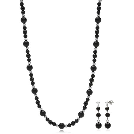 5-8mm Onyx Necklace and Drop Earring Set with Sterling Silver Bead Accents, -