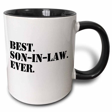 3dRose Best Son in Law Ever - fun inlaw gifts - family and relative gifts, Two Tone Black Mug,