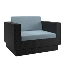 CorLiving Patio Chair in Textured Black Weave with Teal Cushions