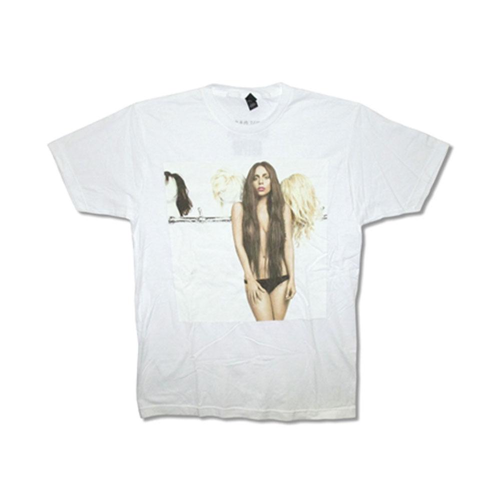 Lady Gaga Men's  Wigs T-shirt White
