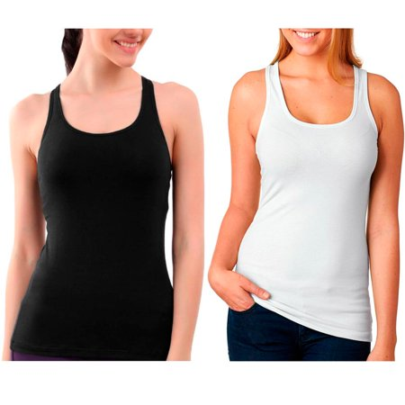 2 Pc Womens Racerback Tank Top Seamless Sleeveless Solid Cami Sports Black White