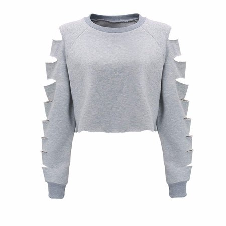 Women Long Sleeve Hollow Out Broken Crop Tops Blouse Pullover Sweatshirt (Hollow Out Pullover)