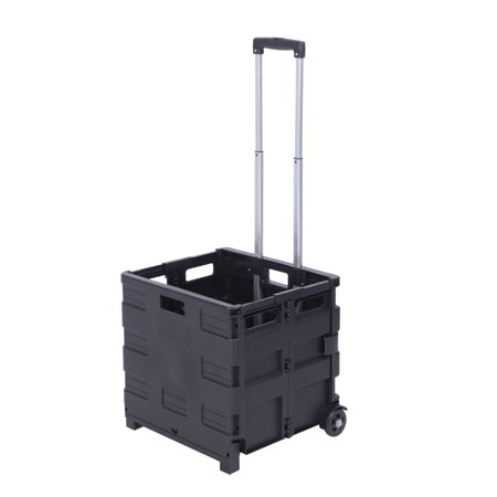 Image of Portable Tools Carrier, Plastic Foldable Crate, Telescopic Handle, 2 Wheels Rolling Utility Cart, Heavy Duty Light Weight 80LB Load Capacity, Black