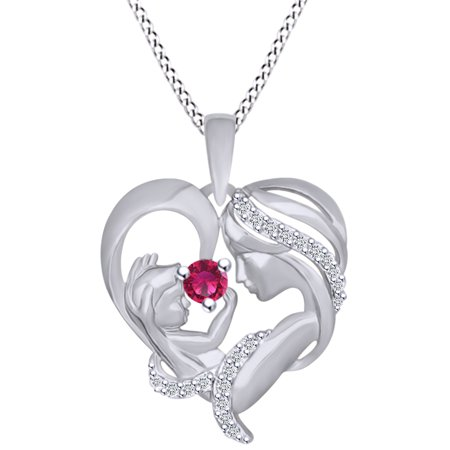 Simulated Gemstone Pendant - Round Cut Simulated Ruby & White Cubic Zirconia Mom With Child Heart Pendant Necklace In 14k White Gold Over Sterling Silver