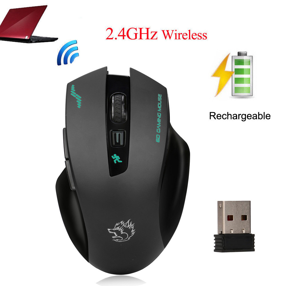 iLH Mallroom Rechargeable Wireless 2400DPI Gaming Mouse 2.4G Battery Gamer 6 Buttons Mice Pro