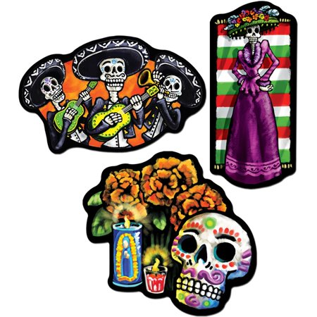 3-Pack Day of The Dead Cutouts, 18-Inch, This item is a great value! By Beistle,USA