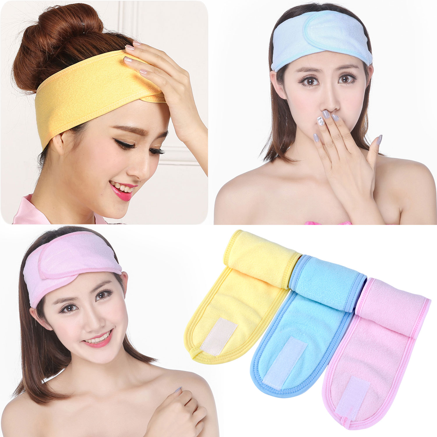 Spa Headbands, Coxeer 3Pcs Womens Facial Headband Elastic Makeup Cosmetic Hair Band Head Wrap for Spa Shower