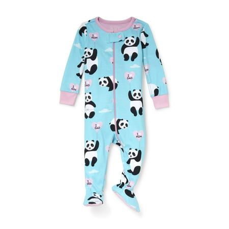 Pink Floral Sleeper (Baby And Toddler Girls Long Sleeve 'I Heart Dad' Panda Snug-Fit Footed Stretchie (Baby and Toddler Girls) )