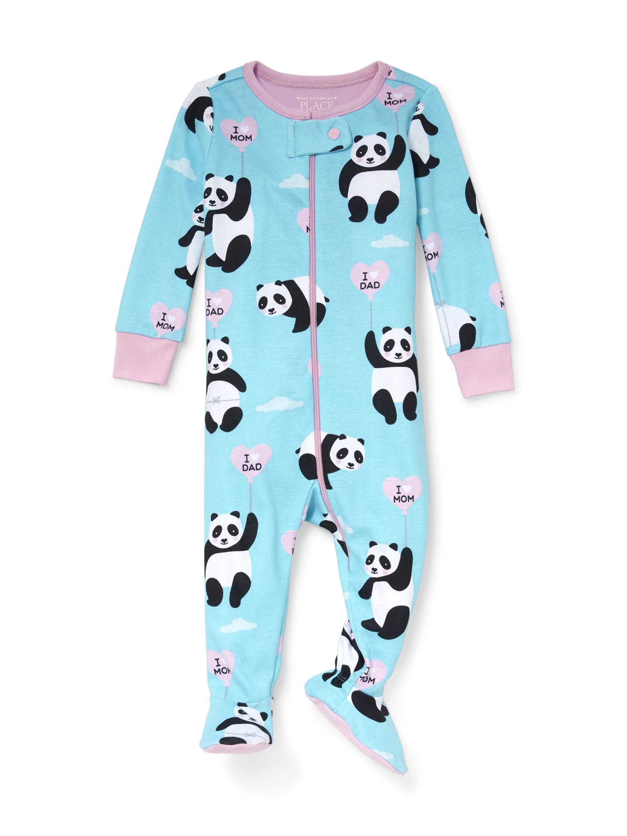 Baby And Toddler Girls Long Sleeve 'I Heart Dad' Panda Snug-Fit Footed Stretchie (Baby and Toddler Girls)
