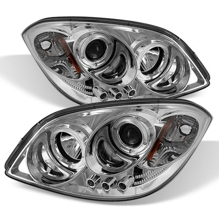 Fits 05-10 Cobalt 07-09 G5 Chrome Clear Dual Halo Projector LED Headlights (Cobalt Lid)