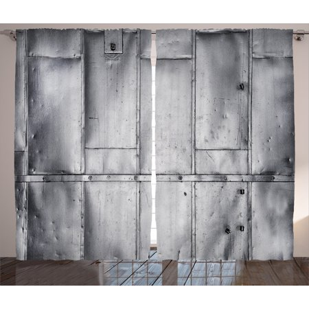Industrial Curtains 2 Panels Set, Metal Steel Panels Industrial Wall Aluminum Background Futuristic Engineering Print, Window Drapes for Living Room Bedroom, 108W X 84L Inches, Silver, by Ambesonne
