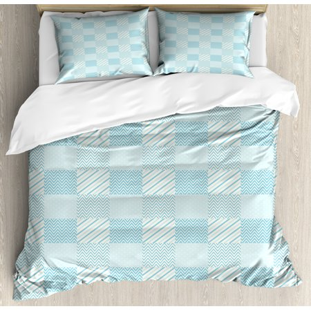 Ivory and White King Size Duvet Cover Set, Dots Zigzags and Diagonal Stripes Pastel Toned Geometric Design, Decorative 3 Piece Bedding Set with 2 Pillow Shams, Pale Blue and White, by Ambesonne