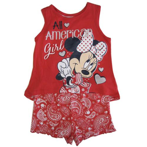 Disney Little Girls Red Minnie Paisley Print Tank Top 2 Pc Shorts Set 3T