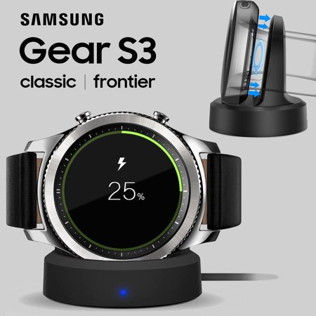 3g Cradle Charger - Wireless Charging Dock Cradle Charger Kit for Samsung Gear S3 Classic / Frontier, with AC Wall Charger Adapter and EEEKit Accessory Pouch