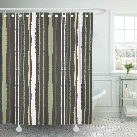 KSADK Strip Pattern Lines with Torn Effect Shred Edge Gray Green Olive White Dark Colored Shower Curtain 66x72 inch ()