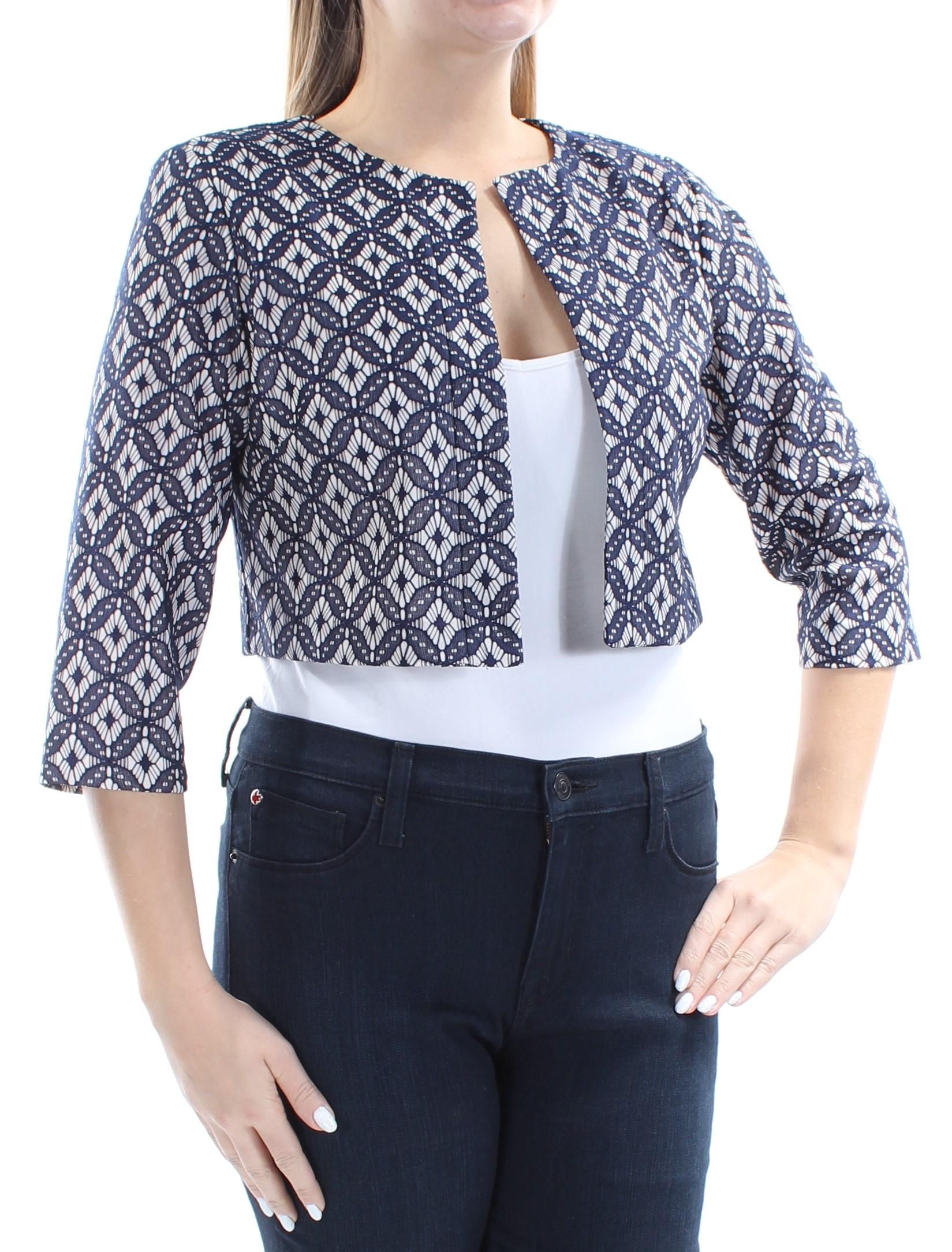 JESSICA HOWARD Womens Navy Beige Lace Geometric Bolero Wear To Work Jacket Petites  Size: 10