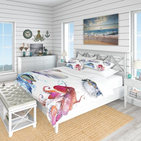 DESIGN ART Designart 'Amazing Undersea Life Collage' Nautical & Coastal Bedding Set - Duvet Cover & Shams ()