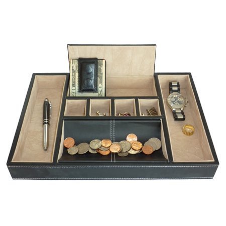 Black Valet Tray & Coin Tray Catchall for Keys, Coins, Phone, Jewelry, Accessories and More