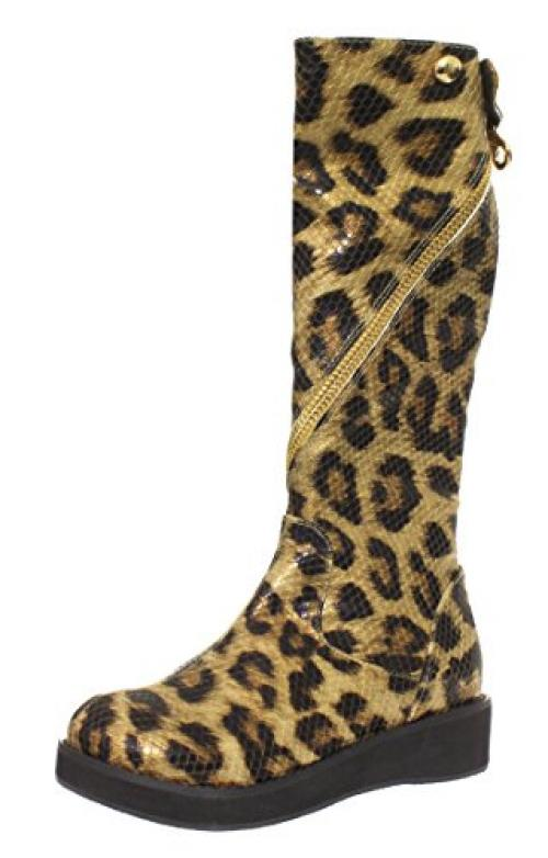 Amiana Women's Tall Boot with Zipper, Gold Leopard, 5 US