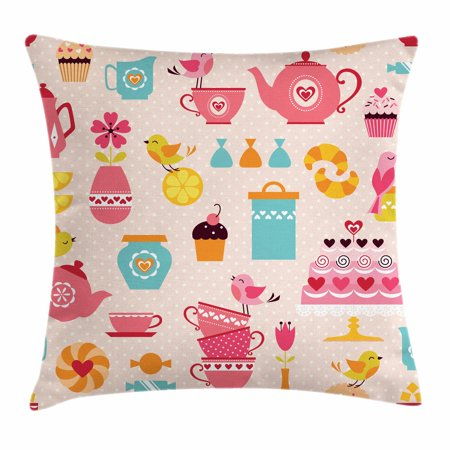 Tea Party Throw Pillow Cushion Cover  Cute Tea Time Elements Funny Cartoon Birds Hearts Love Imagery Cake And Sugar  Decorative Square Accent Pillow Case  24 X 24 Inches  Multicolor  By Ambesonne