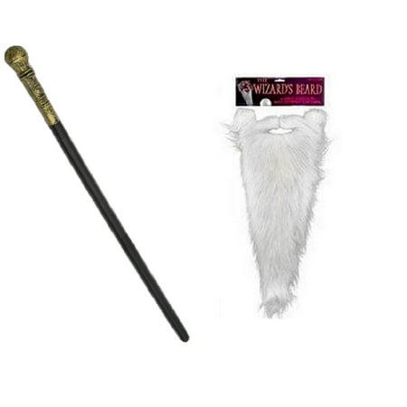 Gold Wizard Scepter Staff Wand Sorcerer Beard Moustache Costume Accessory Prop](Wizard Beards)