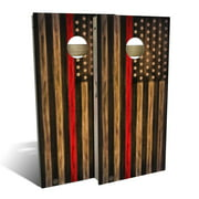 Charred Firefighter Thin Red Line Cornhole Board Set - Choose Your Size & Accessories