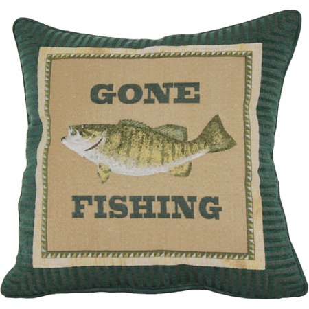 Gone fishing decorative pillow for Walmart fish decor