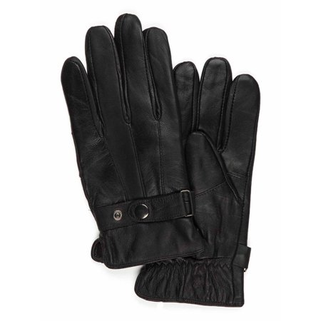 Saddlebred Mens Genuine Leather Fleece Lined Dress Gloves Black