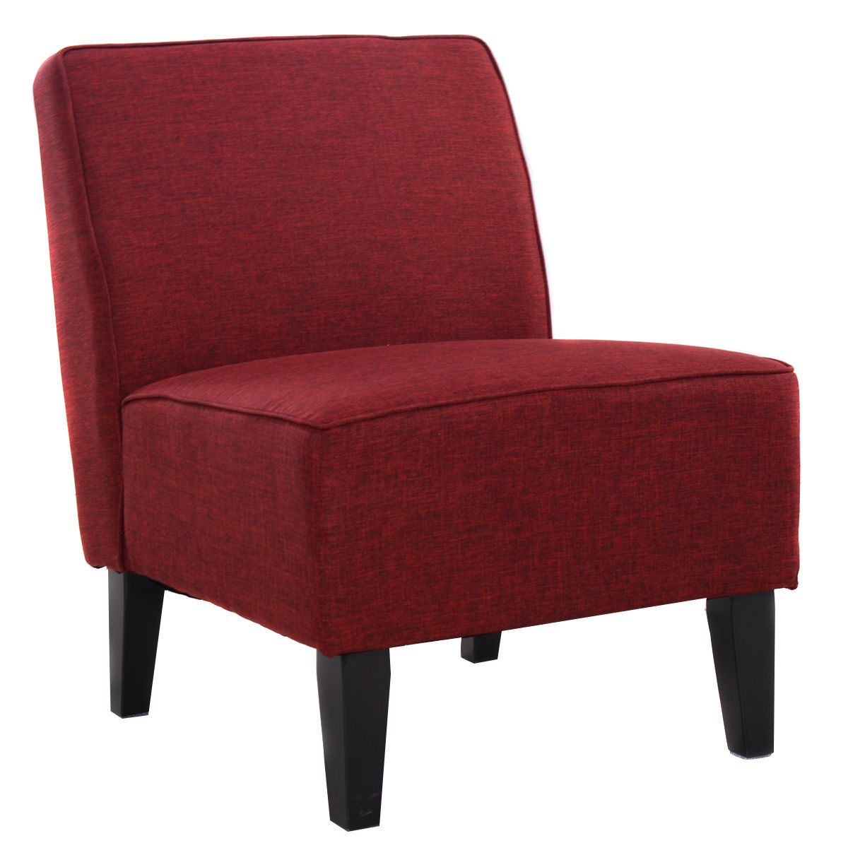 Costway Accent Chair Armless Contemporary Dining Chair Living Room Furniture  Red