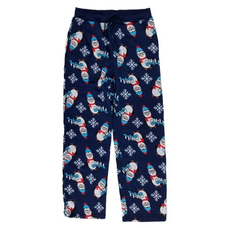 Christmas Pajama Pants - Mens Chill Penguin Christmas Microfleece Lounge Sleep Pants Pajama Bottoms
