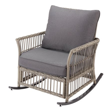 Better Homes & Gardens Belfair Patio Wicker Rocking Chair with Gray Cushions ()