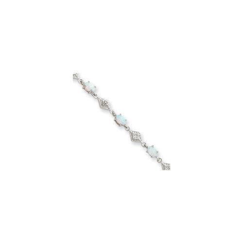 Jewelryweb Sterling Silver Box Clasp White Created Opal Bracelet