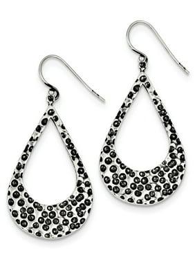 925 Sterling Silver Polished Antiqued Shepherd hook Textured Teardrop Hoop Earrings - 6.8 Grams