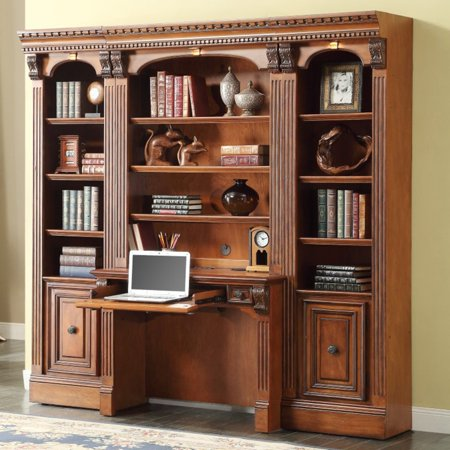 Parker House Huntington Space Saver Bookcase Library Wall With 2-Piece Library Desk