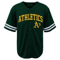 "MLB Oakland A""S TEE Short Sleeve Boys Fashion Jersey Tee 60% Cotton 40% Polyester BLACK Team Tee 4-18"