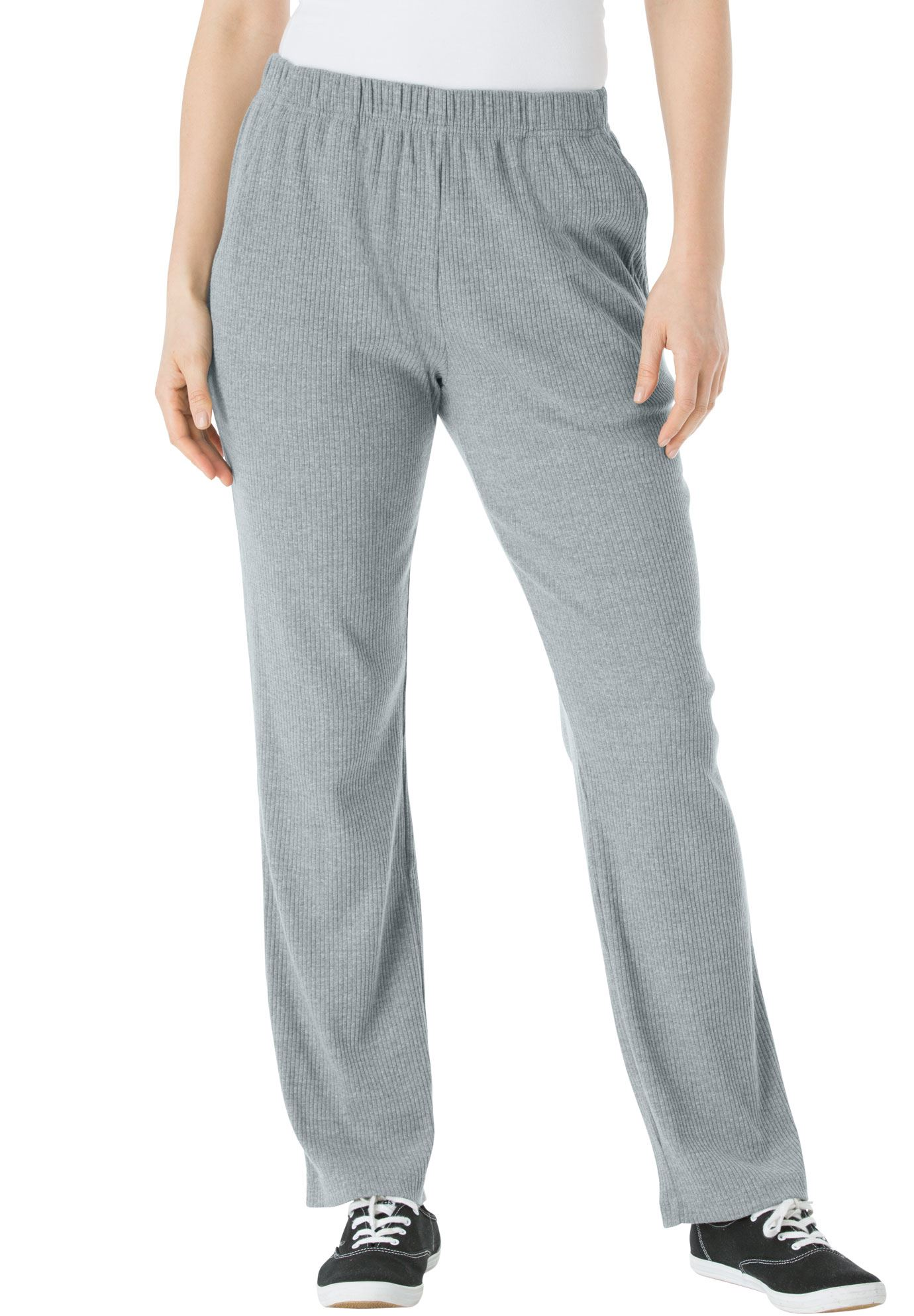 Woman Within Plus Size Petite 7-day Knit Ribbed Straight Leg Pant