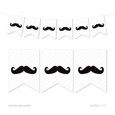 Black Pennant Party Banner - Mustache Party Decorations
