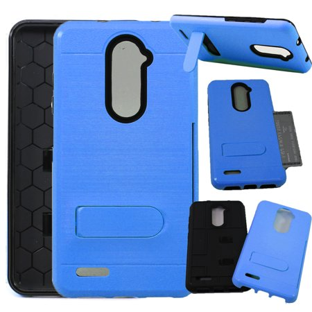 SOGA Cover Compatible ZTE Blade X Max Case/ZMAX Pro Case/Max Duo LTE Case/Grand X Max 2 Case/Carry Case, [Sleek Card Series] Credit Card ID Holder Protective Kickstand Phone Case - Blue