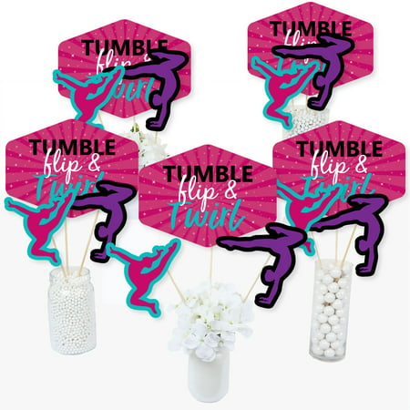 Tumble, Flip & Twirl - Gymnastics - Birthday Party or Gymnast Party Centerpiece Sticks - Table Toppers - Set of 15 - Gymnastics Birthday Party Supplies