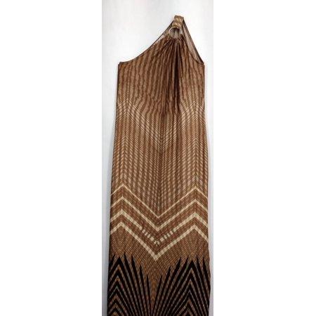 Vanessa Williams Dress Sz S Printed Sleeveless Maxi Ring Trim Brown A426289 (Vanessa Williams Halloween)