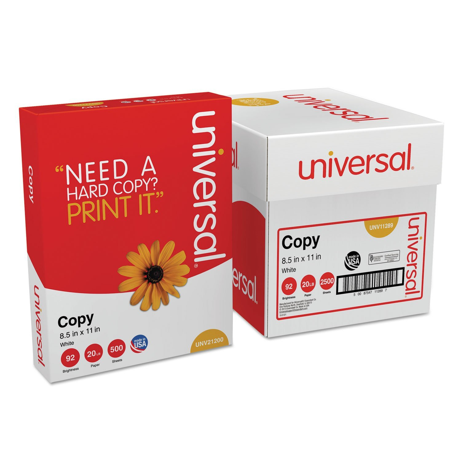 Copy Paper Convenience Carton 92 Brightness 20lb 81/2 x 11 White 2500/Ctn, Sold as 5 Reams/Carton (2500 Sheets) By Universal Office Products Ship from US