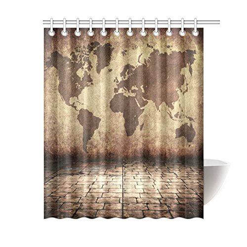 GCKG Vintage Brown World Map Shower Curtain Globe