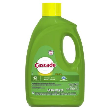 - Cascade Gel Dishwasher Detergent, Lemon Scent, 155 fl oz