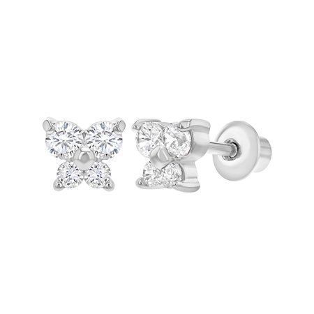 Small Butterfly Earrings - Rhodium Plated Small Butterfly Earrings with Screw On Backs for Girls Kids