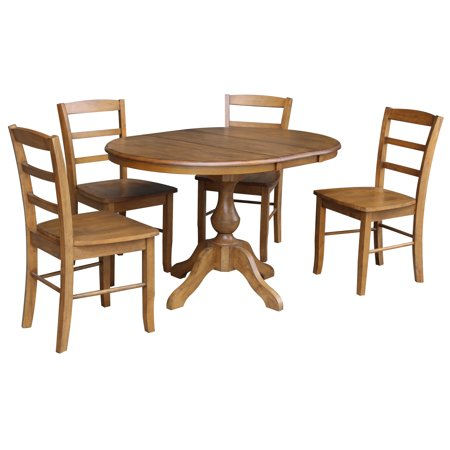 36 Round Dining Table With 12 Leaf And 4 Madrid Chairs Pecan